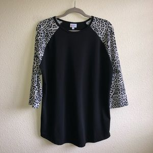 EUC LuLaRoe Animal Print Sleeve Randy Top